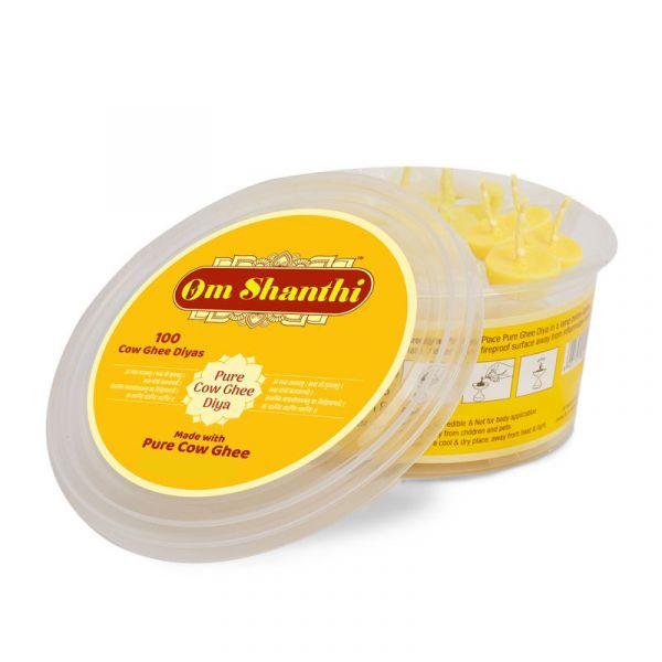 Om Shanthi Cow Ghee Diya - Pack of 100